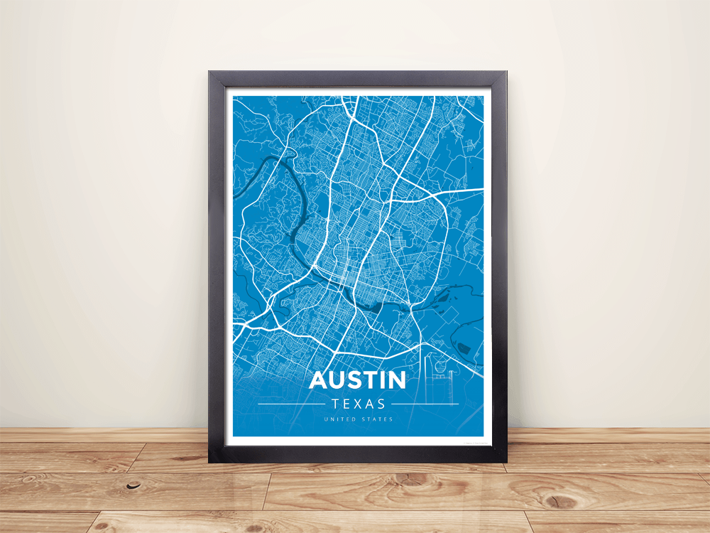 Framed Map Poster of Austin Texas - Modern Blue Contrast - Austin Map Art