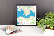 Framed Map Poster of Hong Kong China - Subtle Colorful