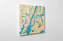 Gallery Wrapped Map Canvas of New York United States - Subtle Colorful