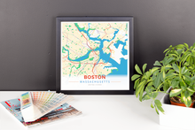 Framed Map Poster of Boston Massachusetts - Modern Colorful - Boston Map Art