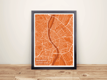 Framed Map Poster of Budapest Hungary - Subtle Burnt - Budapest Map Art
