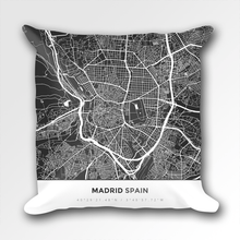 Map Throw Pillow of Madrid Spain - Simple Contrast - Madrid Map Art
