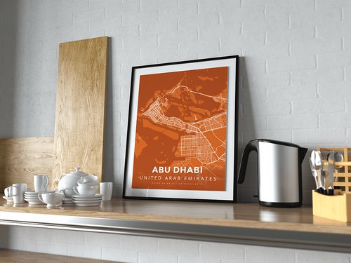 Premium Map Poster of Abu Dhabi United Arab Emirates - Modern Burnt - Unframed - Abu Dhabi Map Art