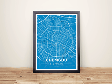 Framed Map Poster of Chengdu Sichuan - Modern Blue Contrast - Chengdu Map Art