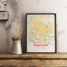 Framed Map Poster of Bangkok Thailand - Modern Colorful