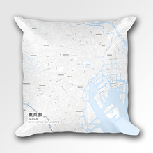 Map Throw Pillow of Tokyo Japan - Subtle Ski Map