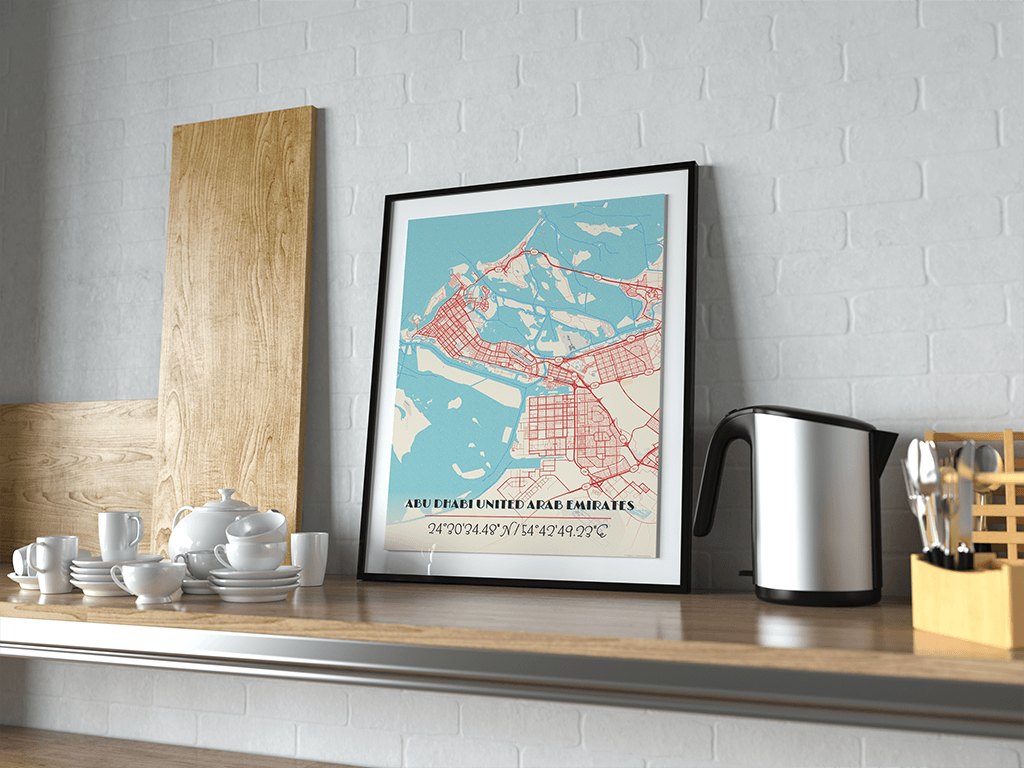 Premium Map Poster of Abu Dhabi United Arab Emirates - Diner Retro - Unframed - Abu Dhabi Map Art