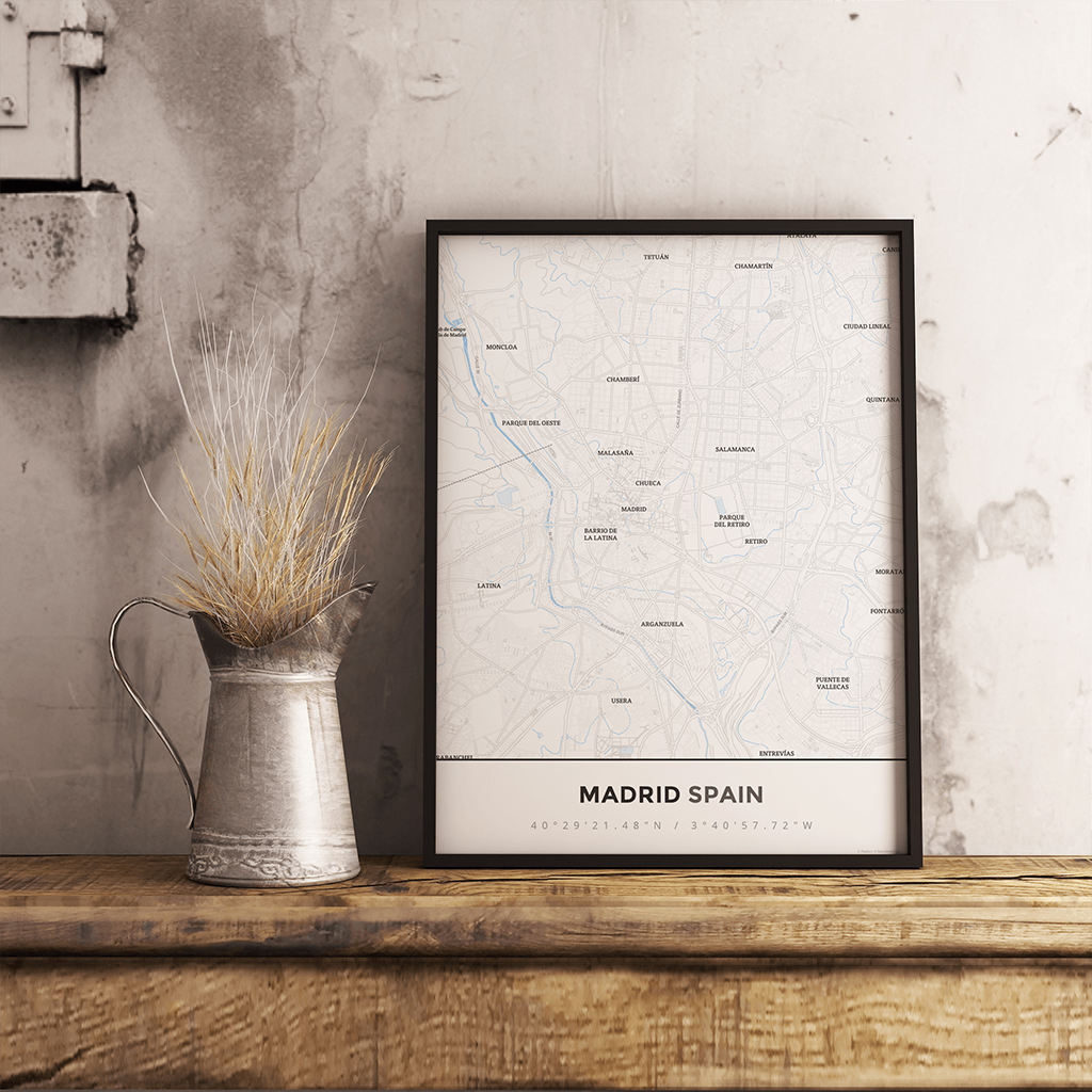 Premium Map Poster of Madrid Spain - Simple Ski Map - Unframed - Madrid Map Art