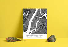 Premium Map Poster of New York United States - Simple Contrast - Unframed