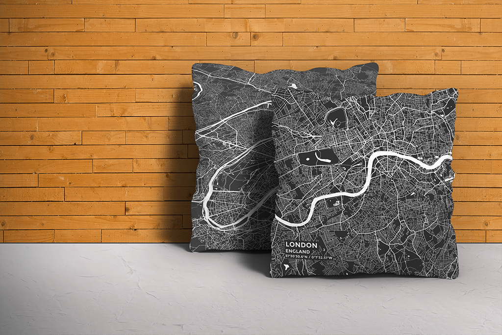 Map Throw Pillow of London England - Subtle Contrast