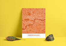 Premium Map Poster of London England - Simple Burnt - Unframed
