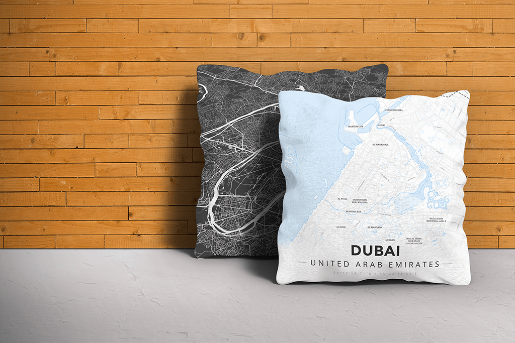 Map Throw Pillow of Dubai United Arab Emirates - Modern Ski Map
