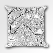 Map Throw Pillow of Paris France - Subtle Black Ink