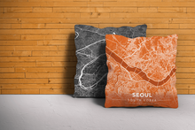 Map Throw Pillow of Seoul South Korea - Modern Burnt