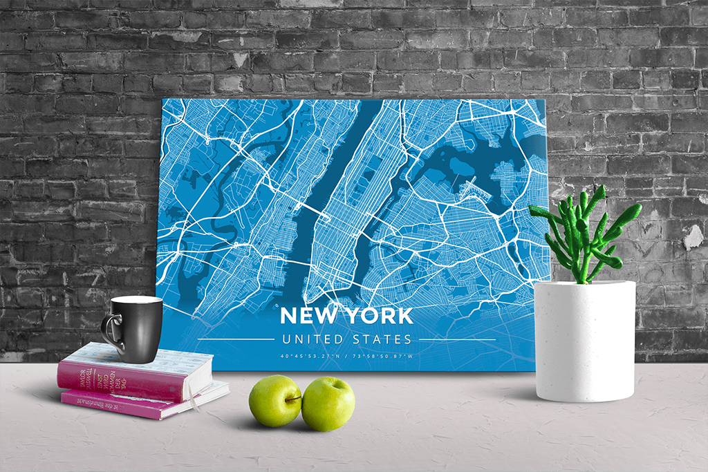 Gallery Wrapped Map Canvas of New York United States - Modern Blue Contrast