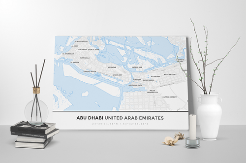 Gallery Wrapped Map Canvas of Abu Dhabi United Arab Emirates - Simple Ski Map - Abu Dhabi Map Art