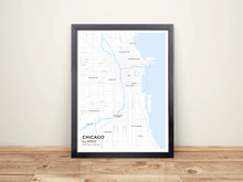 Framed Map Poster of Chicago Illinois - Subtle Ski Map - Chicago Map Art