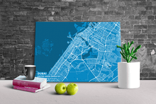 Gallery Wrapped Map Canvas of Dubai United Arab Emirates - Subtle Blue Contrast