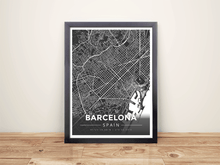 Framed Map Poster of Barcelona Spain - Modern Contrast