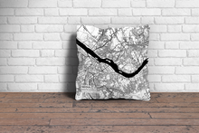 Map Throw Pillow of Seoul South Korea - Subtle Black Ink