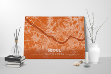 Gallery Wrapped Map Canvas of Seoul South Korea - Modern Burnt