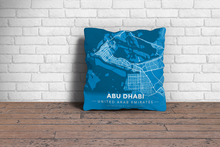Map Throw Pillow of Abu Dhabi United Arab Emirates - Modern Blue Contrast - Abu Dhabi Map Art