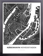 Framed Map Poster of Copenhagen Denmark - Simple Contrast - Copenhagen Map Art