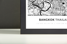 Framed Map Poster of Bangkok Thailand - Simple Black Ink
