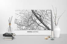 Gallery Wrapped Map Canvas of Vienna Austria - Simple Black Ink