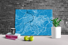 Gallery Wrapped Map Canvas of Taipei Taiwan - Subtle Blue Contrast