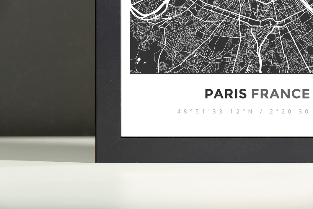 Framed Map Poster of Paris France - Simple Contrast