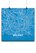 Premium Map Poster of Milano Italy - Modern Blue Contrast - Unframed
