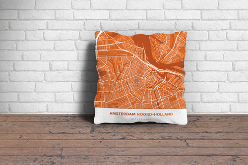 Map Throw Pillow of Amsterdam Noord-Holland - Simple Burnt
