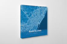 Gallery Wrapped Map Canvas of Barcelona Spain - Modern Blue Contrast