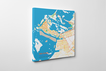 Gallery Wrapped Map Canvas of Abu Dhabi United Arab Emirates - Subtle Colorful - Abu Dhabi Map Art