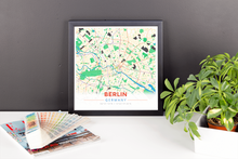 Framed Map Poster of Berlin Germany - Modern Colorful - Berlin Map Art
