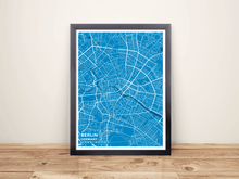 Framed Map Poster of Berlin Germany - Subtle Blue Contrast - Berlin Map Art