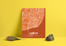 Premium Map Poster of Lisbon Portugal - Modern Burnt - Unframed - Lisbon Map Art