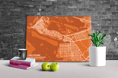 Gallery Wrapped Map Canvas of Abu Dhabi United Arab Emirates - Subtle Burnt - Abu Dhabi Map Art