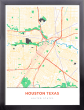 Framed Map Poster of Houston Texas - Simple Colorful - Houston Map Art