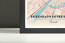 Framed Map Poster of Copenhagen Denmark - Diner Retro - Copenhagen Map Art