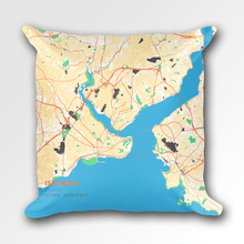 Map Throw Pillow of Istanbul Turkey - Subtle Colorful