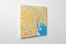 Gallery Wrapped Map Canvas of Tokyo Japan - Subtle Colorful