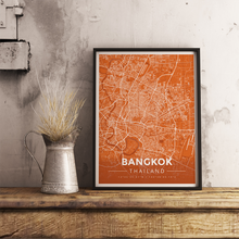 Framed Map Poster of Bangkok Thailand - Modern Burnt