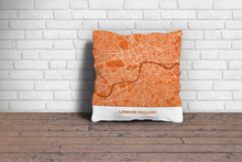 Map Throw Pillow of London England - Simple Burnt