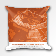 Map Throw Pillow of Abu Dhabi United Arab Emirates - Simple Burnt - Abu Dhabi Map Art