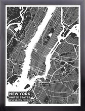 Framed Map Poster of New York United States - Subtle Contrast