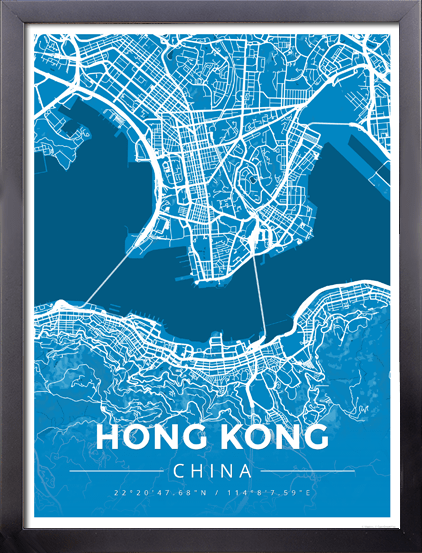 Framed map poster of hong kong china map art travel decor framed map poster of hong kong china modern blue contrast gumiabroncs Choice Image