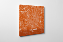 Gallery Wrapped Map Canvas of Milano Italy - Modern Burnt