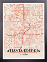 Framed Map Poster of Atlanta Georgia - Diner Retro - Atlanta Map Art